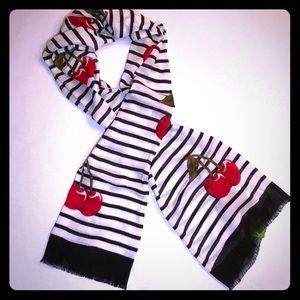 Kate Spade Ma Cherie striped oblong scarf cherries